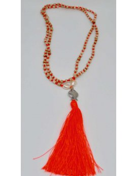 Happy Fish necklace - ORANGE TASSEL
